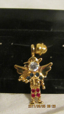 Baseball Playing Angel #15 Gold Tone Red,white,blue Rhinestones Charm