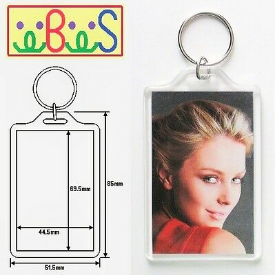 2x Blank Clear Acrylic Keyrings 77x52mm Frame & 70x45mm Photo Size (key ring)
