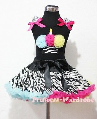 Rainbows Zebra Pettiskirt with Black Top Rainbows Zebra Print Cupcake Set 1-8Y
