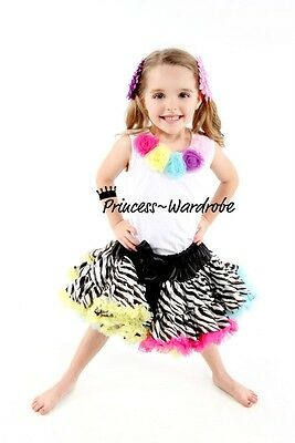 Rainbows Zebra Pettiskirt with White Pettitop Top in Rainbow Rosettes Set 1-8Y