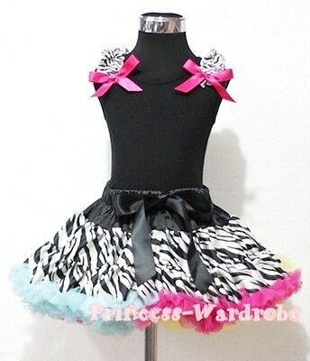 Rainbows Zebra Pettiskirt with Black Pettitop Top in Ruffles and Bows Set 1-8Y