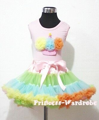 Pale Rainbows Style Pettiskirt with Light Pink Top Rainbows Cupcake Set 1-8Year