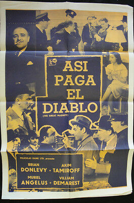 Spanish Mexican Movie Poster ASI PAGA EL DIABLO The Great McGinty Brian Donlevy