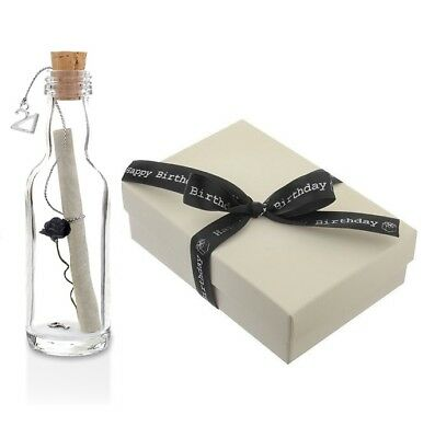 21st Birthday Gift | Personalised Message in a Bottle | Rose and Key