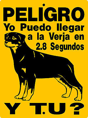 Rottweiler  Guard Dog Spanish Aluminum Sign Vinyl Lettering And Graphics 2827Brs