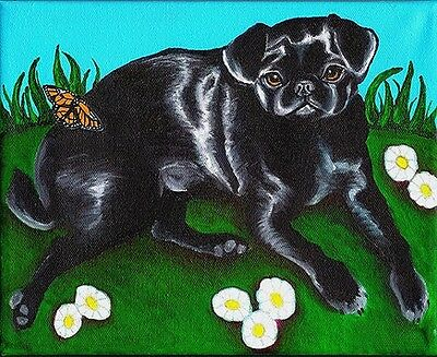 8x10 BLACK PUG PUPPY in Arm Signed Dog Art PRINT of Original Painting by VERN