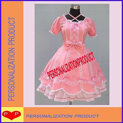 Sweet lolita cute bows white lace ball gown pink cosplay Knee Length dress