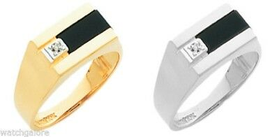 Mens 14k or 10k, Yellow or White Solid Gold Black Onyx Open Back Ring w/ Diamond