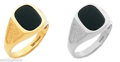 New Men's 14k or 10k, Yellow or White Solid Gold Black Onyx Open Back Ring