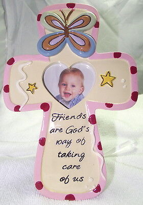 NEW Pink Frame, Christian Cross, Heart Opening for Photo, Cute for Baby Picture
