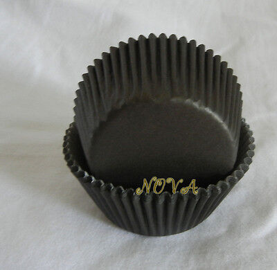 100 plain black cupcake liners baking paper cup stadard size muffin cases