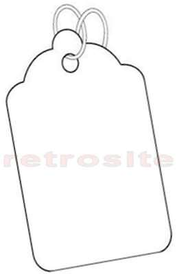 200 WHITE Merchandise/Jewelry Price Tags BLANK w/Strings STRUNG #5-BEST QUALITY-