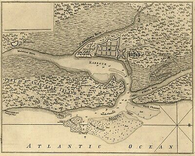 1763 St. Augustine Florida Colonial French Antique Map reproduction print