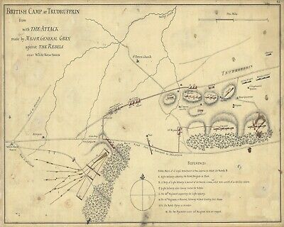 """1777 Poster in 5 Sizes Revolutionary War /""""Battle Theater/"""" Map"""