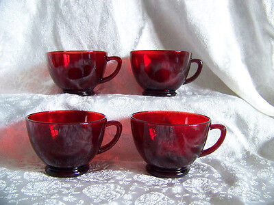 Fire King Anchor Hocking Royal Ruby lot of 4 punch snack coffee cups glass