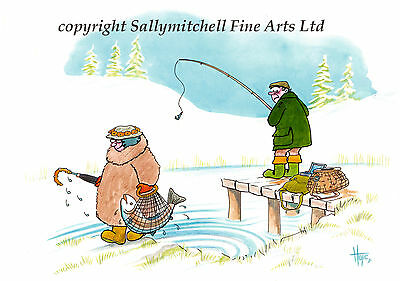Funny Fishing, Angling, country sports Christmas cards pack of 10  C387x