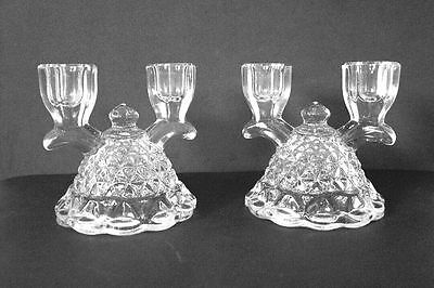 2 Vintage Imperial Glass Twin Candle Stick Holders Laced Edge