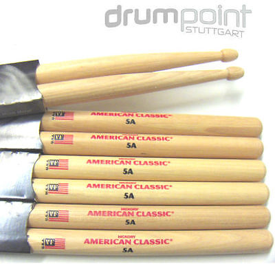 6 Paar original Vic Firth American Classic Hickory 5A  Sticks  **TOPDEAL**