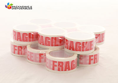 12 ROLLS OF FRAGILE PRINTED PACKING PARCEL TAPE LOW NOISE 50mm x 66m
