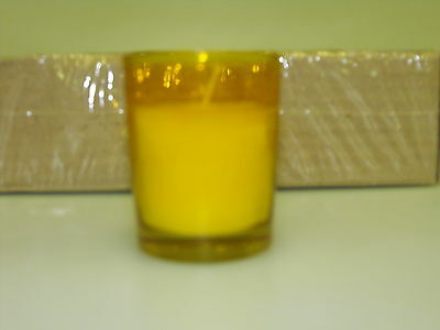 75 -  Amber glass White candle 10hr glass filled votive (elegant)