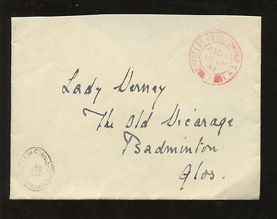 GB 1944 HOUSE of COMMONS OFFICIAL PAID ENVELOPE to LADY VERNEY BADMINTON GLOS