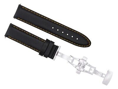 18Mm Italian Smooth Leather Watch Strap Band Deployment Clasp For Rolex Black Os