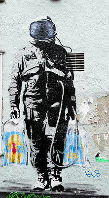 "Banksy -SPQR- Astronaut Shopping on Moon Street 24""x36"" Canvas Print"