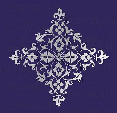 Large Wall Damask Stencil Pattern Faux Mural  #1014