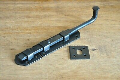 """TOWER BOLTS-PAIR (2)-BLACK CAST IRON """"FRENCH"""" STYLE-door barrel panic-pad-SLIDE"""