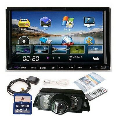 "7""In dash 2 Din Car DVD Player GPS TV BT Radio+Backup Camera+SD Kudos GPS US MAP"