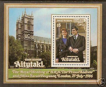 AITUTAKI COOK ISLANDS 1986 Prince Andrew ROYAL WEDDING S/Sheet MNH