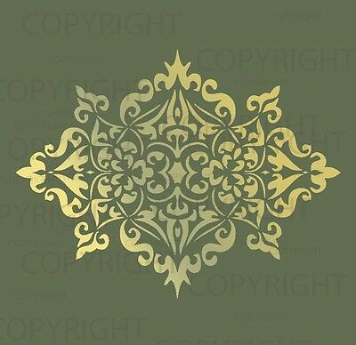 Large Wall Damask Stencil Pattern Faux Mural  #1023