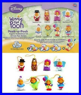 TOMY Set 8 Figure WINNIE POOH CIRCO CIRCUS Edition RARE Mini Winnies DANGLERS !!