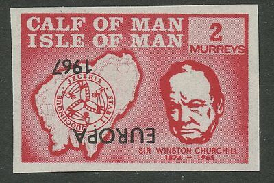 IOM Calf of Man 1967 Churchill 2m INVERTED EUROPA ovpt imperf proof