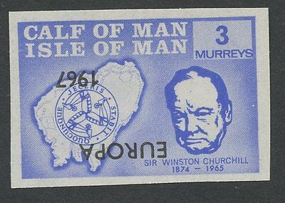 IOM Calf of Man 1967 Churchill 3m INVERTED EUROPA ovpt imperf proof