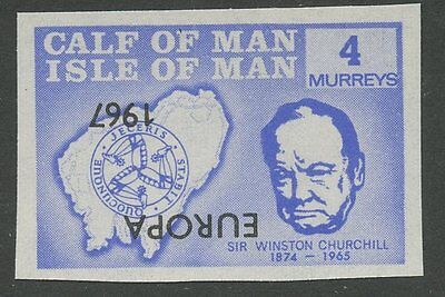 IOM Calf of Man 1967 Churchill 4m INVERTED EUROPA ovpt imperf proof