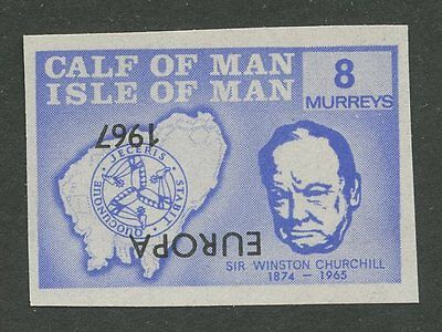 IOM Calf of Man 1967 Churchill 8m INVERTED EUROPA ovpt imperf proof