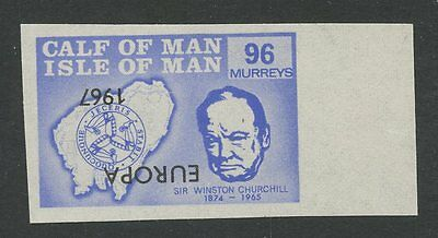 IOM Calf of Man 1967 Churchill 96m INVERTED EUROPA ovpt imperf proof