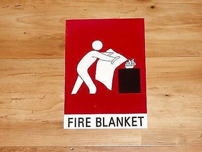 Fire Blanket Plastic Sign, Small. Peel And Stick!!  Protection, Safety,security.