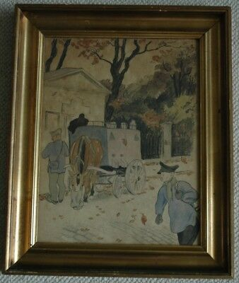 Rare Colored Lithograph French or European Peasant Scene late 1800's early 1900s