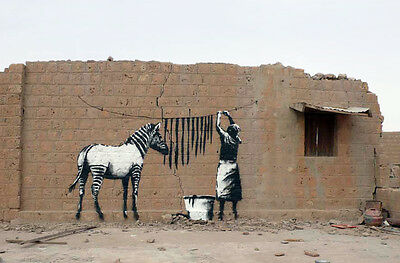 "Banksy - Washing Zebra -24""x36"" Canvas Print Urban Graffiti"