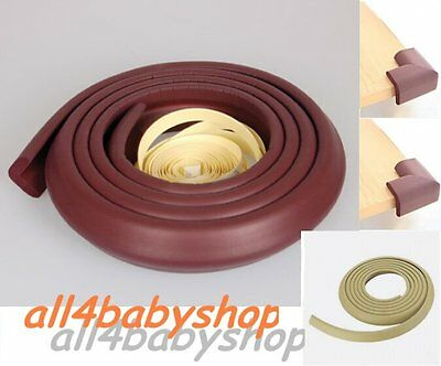 Baby Toddler Safety Proofing Table Edge Guard Protector/Corners BROWN CREAM GREY