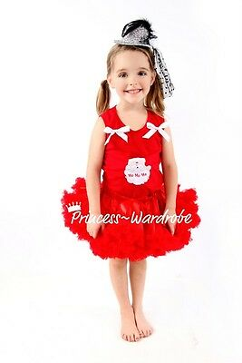 Xmas Hot Red Pettiskirt Tutu Red Pettitop Top in Santa Claus Print with Bow 1-8Y