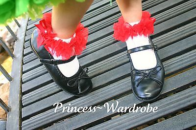 Baby Girl White Petti Sock Stocking Hot Red Ruffle Accessory For Pettiskirt 2-6Y
