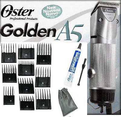 Oster A5 2 Speed Golden Animal dog horse Clipper/Blade/10 pc Comb Guides L@@k