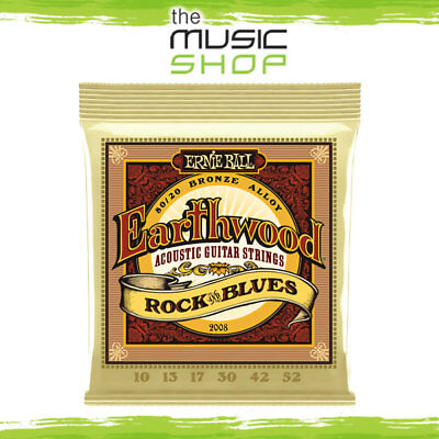 10 x Ernie Ball 2008 Earthwood Rock & Blues Bronze Acoustic Guitar Strings Cheap