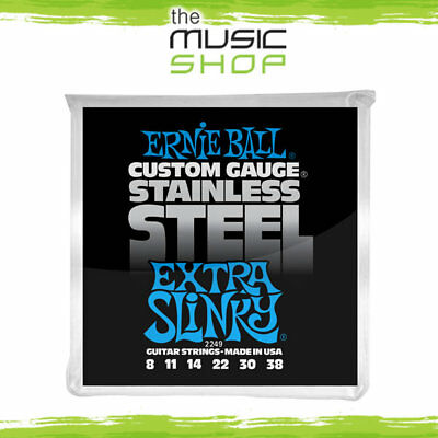 10 x Ernie Ball 2249 Extra Slinky Stainless Steel Electric Guitar Strings 8-38
