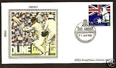 Cricket Ashes 1988 Wg Grace Allan Border Photo Fdc