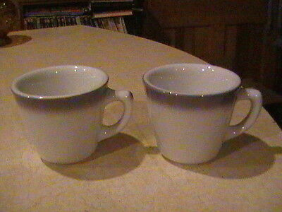 Jackson China Restaurant Ware 2 White & Gray Fade Edge Coffee Cups