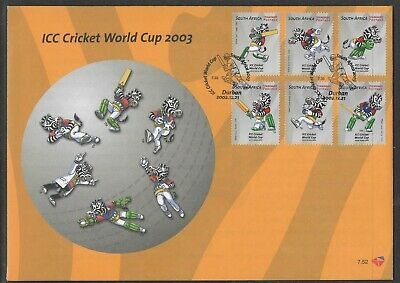 SOUTH AFRICA 2002 ICC CRICKET WORLD CUP MASCOTS 6v FDC